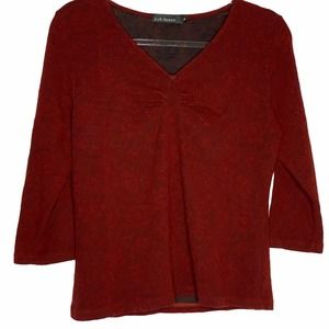 Cut Loose Red Tencel Shirt Blouse